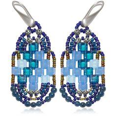 Ziio Women Pixel Blue Beaded Earrings (10,300 INR) ❤ liked on Polyvore featuring jewelry, earrings, blue, blue earrings, beaded earrings, ziio jewelry, blue jewelry and bead jewellery