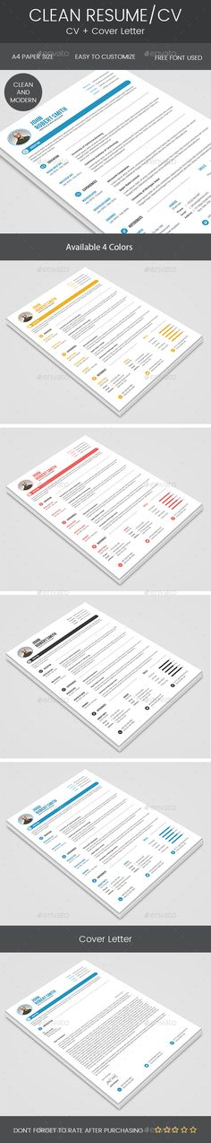 Clean #Resume & Cover Letter - Resumes Stationery