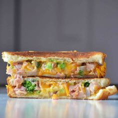 Ham and Broccoli Grilled Cheese Sandwiches. I might use smoked turkey or turkey ham since I don't eat pork.