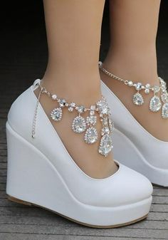 White Round Toe Rhinestone Chain Fashion Wedges Shoes - Boot Heels - Ideas of Boot Heels - White Round Toe Rhinestone Chain Fashion Wedges Shoes Wedge Wedding Shoes, Bridal Shoes, Wedge Shoes, Wedding Wedges, Wedding High Heels, High Heels Boots, Heeled Boots, Shoe Boots, Ankle Strap Heels