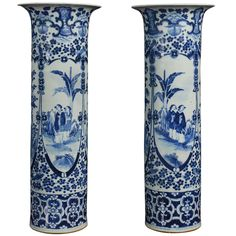 Pair of large blue and white Chinese vases