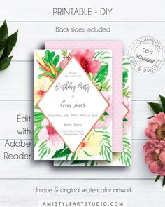 Tropical Birthday Party Invitation, with vivid and beautiful watercolor graphics in unique and modern style by Amistyle Art Studio on Etsy Watercolor Wedding Invitations, Printable Wedding Invitations, Birthday Party Invitations, Baby Shower Invitations, Wedding Stationery, Floral Artwork, Invitation Design, Invite, Save The Date Cards