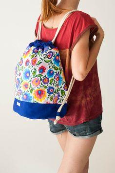 Folkowy plecak – worek (niebieski) - Joanka-z - Plecaki i torby