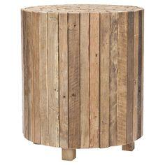 "Reese Teak End Table  Round reclaimed teak end table.     Dimensions: 19.5"" H x 17"" Diameter"