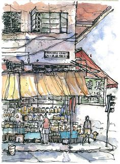 Town, HK Kennedy Town - line and wash travel sketchingKennedy Town - line and wash travel sketching Pen And Watercolor, Watercolor Landscape, Watercolor Trees, Watercolor Artists, Watercolor Portraits, Watercolor Painting, Sketchbook Inspiration, Art Sketchbook, Fabrice Moireau