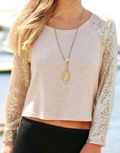 Apricot Long Sleeve Sequined Split Blouse 15.00