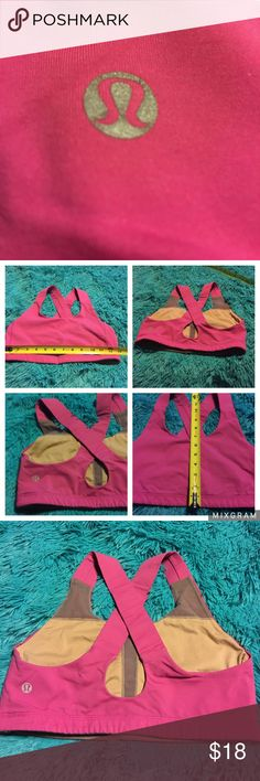 Lululemon sports bra pink Pre owned Lululemon sports bra pink. Tag was removed see pics for measurements and details. I think it's a 6. lululemon athletica Accessories