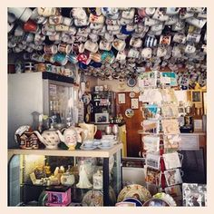 An amazing tea shop ceiling in St Agnes, Cornwall