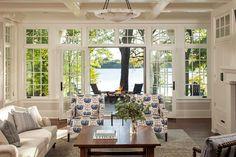 Contemporary Coastal Style Interior Decor · Luxury Lakeside Cottage Living Room