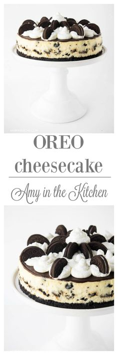 Oreo Cheesecake | This cheesecake is loaded with Oreo cookies. Everyone's favorite cookie! | AmyintheKitchen.com