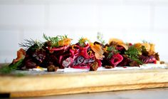 On the menu @tastebarstl : Smoked beet salad with salt cured arctic char, dill pickled shallots, pumpernickel crumble, lemon ricotta and a charred leek and orange vinaigrette