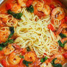 Shrimp Pasta in Garlic Basil Tomato Sauce