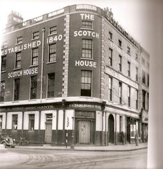 The 'Old Scotch House' on Burgh Quay (corner of Hawkins Street)Passed this building many times to catch the 44 bus. Dublin Pubs, Dublin Street, Dublin City, Dublin Ireland, Ireland Pictures, Old Pictures, Old Photos, Gone Days, Arran