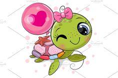 Cute Cartonn Turtle with ladybug | Pre-Designed Vector Graphics ~ Creative Market Cute Turtle Drawings, Baby Animal Drawings, Cartoon Drawings, Cute Drawings, Cute Images, Cute Pictures, Clip Art, Cartoon Mignon, Kawaii Turtle