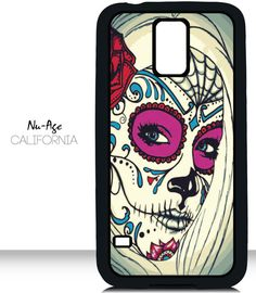 Handmade Cell Phone Case Candy Skull Design Samsung Galaxy S5 Case Day of the Dead Skull Tattoo Design Cool Colors Fancy Phone Case Colorful by NuAgeProducts