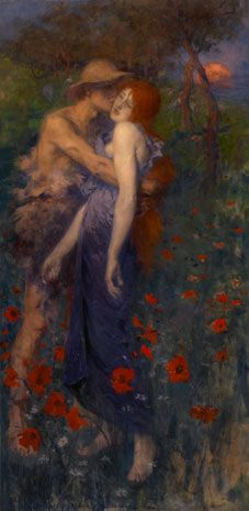 Painting of an embracing couple surrounded by poppies