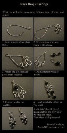 DIY Black Drop Wire Earrings. Earrings Tutorial by MariaN95. #wireearrings #earringtutorial