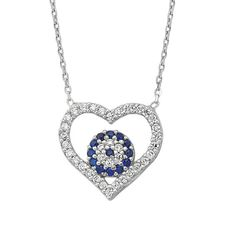 Silver Heart Necklace, Blue Evil Eye Necklace,   925 Sterling Silver Filled , CZ stones by Evil Eye Gems (Evil Eye Jewelry)