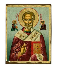 Saint Nicolaos - Seriograph icon crafted in canvas with colored background on aged natural wood. Saint Antony, Real Angels, Byzantine Icons, Client Gifts, Jesus On The Cross, Photo On Wood, Orthodox Icons, 15th Century, Vivid Colors