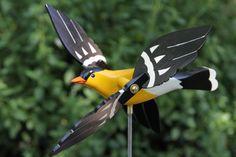 Gold Finch Whirligig Bird, Lawn Ornament,Whirlybird, Garden Decor, Whirlygig