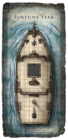 This hi-res battle map of the ship Fortune Star is one of a set that was originally created for the adventure Captain Slygo's Treasure; written by Timothy Ide for issue of Dungeon Magazine Dungeon Tiles, Dungeon Maps, Dungeons And Dragons Homebrew, D&d Dungeons And Dragons, Tabletop Rpg, Tabletop Games, Pathfinder Maps, Ship Map, Rpg Map