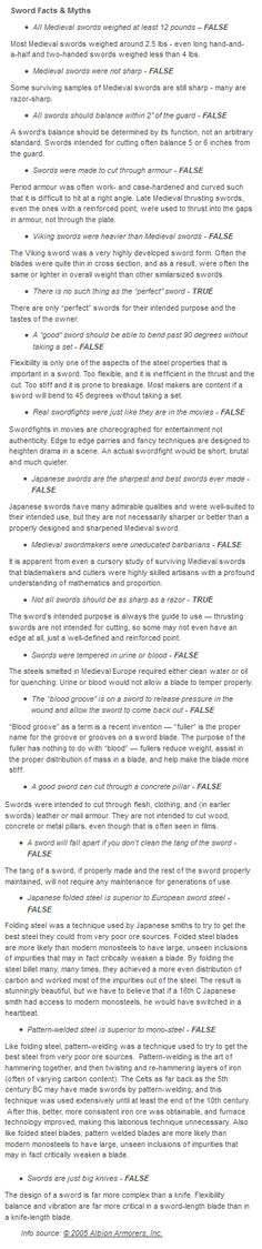 Sword Facts and Myths.