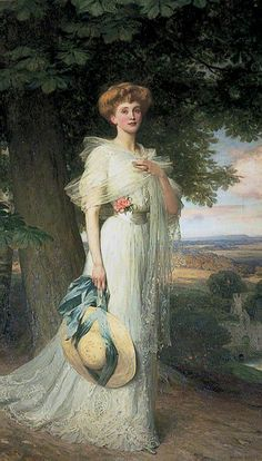 Portrait of Joan Marion Pratt, Marchioness Camden (wife of the 4th Marquess) by Frank Dicksee, ca. 1908