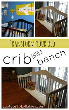 Turn your crib into a bench // Full tutorial [My Handmade Home by Heather Laura Clarke] #DIY #crib #bench