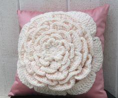 Rosebud  Crocheted Flower Pillow by BombshellBelle on Etsy,