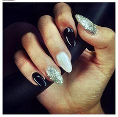 Stilleto almond nails white black glitter and - Diva nails and beauty ...