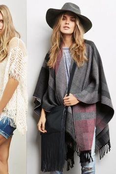 Grey And Pink Check Cape
