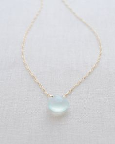 Chalcedony Necklace in Mint Blue or Soft Green by Olive Yew. Also choose from gold and silver chain.