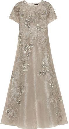 Biyan - Gita Embellished Metallic Tulle Maxi Dress - Mushroom