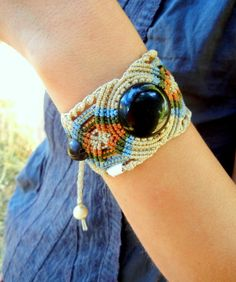 Obsidian Eye Bracelet in Beige Micro Macrame with by Elquino