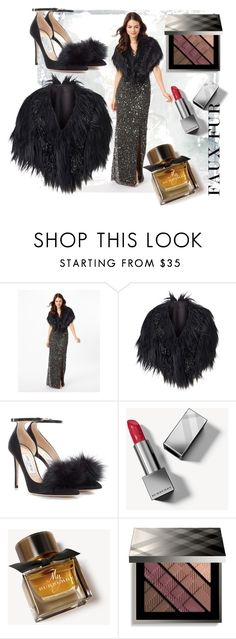 """""""Faux Fur Coats"""" by victoria-ronson ❤ liked on Polyvore featuring Jimmy Choo and Burberry"""