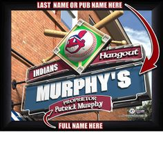 Cleveland Indians MLB Baseball - Personalized Cleveland Indians Pub Hangout Print / Picture. Now, with our Personalized MLB Sports Pub Hangout Print, your favorite fan can become the Proprietor of THEIR OWN Sports Bar! This exciting gift is perfect for any MLB Baseball fan. Optional framing with mat is available. Perfect for gifts, rec room, man cave, bar, office, etc.  (http://www.oakhousesportsprints.com/cleveland-indians-pub-hangout-print/)