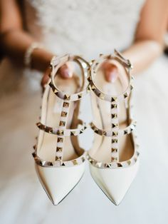 Nude studded pointed toe Valentino pumps: http://www.stylemepretty.com/little-black-book-blog/2016/11/02/classic-central-park-boathouse-wedding-2/ Photography: Merari - http://merari.com/