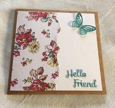 Simple handmade Card  using. Spellbinder bracket dies and spellbinder Hello friend die and a butterfly punch