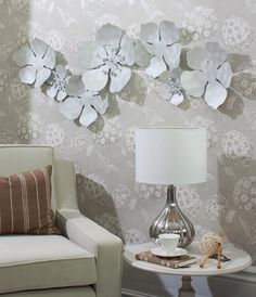 Flower Chain Metal Wall Art Hand Crafted Sculpture With Unique Pearlescent White Shell Finish