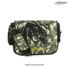 Ed Hardy Leo Panther Black Canvas Messenger Bag Green Camo Laptop School  Unisex 7394a3db4d210