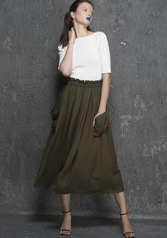 Olive green skirt, midi skirt, womens skirt, pleated skirt, elastic waist skirt, full skirt, skirt with pockets,fall clothing, Gift  (1335) by xiaolizi on Etsy https://www.etsy.com/listing/247638444/olive-green-skirt-midi-skirt-womens
