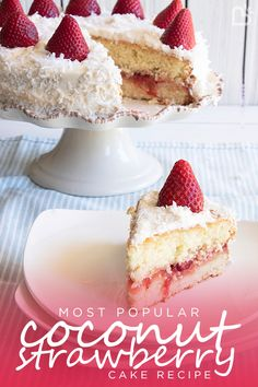 Most Popular Coconut Strawberry Cake recipe - amazing! Strawberry Birthday Cake, Strawberry Cake Recipes, Strawberry Preserves, Strawberry Jam, How To Make Icing, Birthday Treats, Most Popular Recipes, Vanilla Cake, Cheesecake