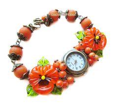 """""""Мандарин"""" наручные часы с бусинами лэмпворк - оранжевый,часы,часики,наручные часы"""