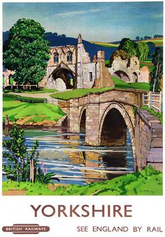 "Historic railway poster. It says ""Kirkham Abbey"". Train Posters, Railway Posters, Poster Vintage, Vintage Travel Posters, British Travel, A4 Poster, Places To Visit, Landscape, Retro"
