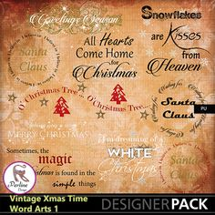 Pack of 10 beautiful Word Arts made for Xmas. They are png files, variable size, 300 Dpi.