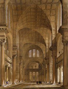 LATE EMPIRE: Baths of Caracalla, Rome. Reconstruction drawing of the central hall (fridgedarium).