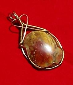 FREE S - Pendant - Gorgeous Wire Wrapped Jasper in Gold - A JewelryArtistry Original - P134