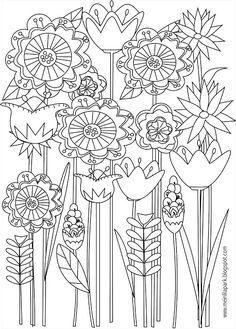 Free printable floral coloring page - ausdruckbare Malseite - freebie   MeinLilaPark – DIY printables and downloads