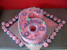 number 6 cake | Number 6 cake with mini cupcakes | Flickr - Photo Sharing!