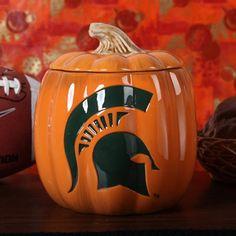 Michigan State Spartans Ceramic Pumpkin Jar